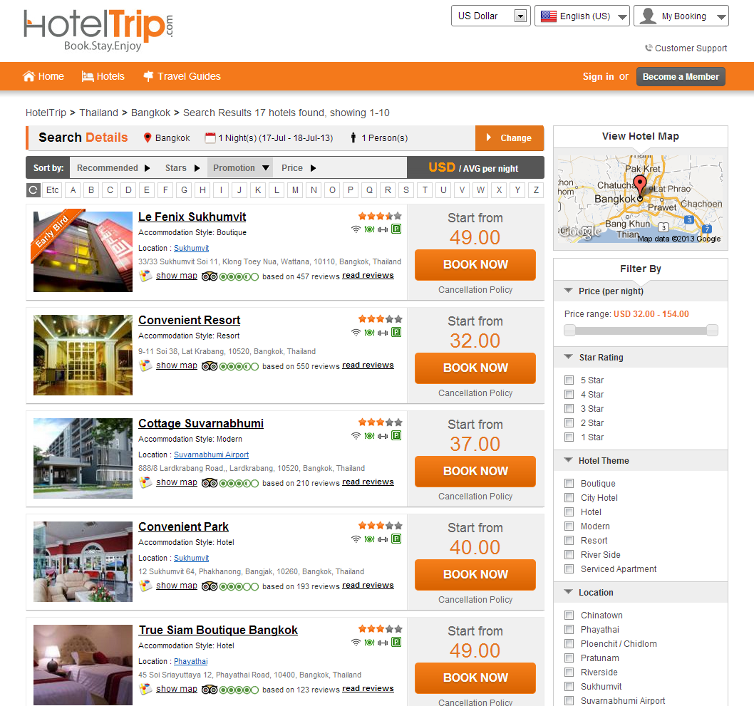 HotelTrip.com's Search Result Page