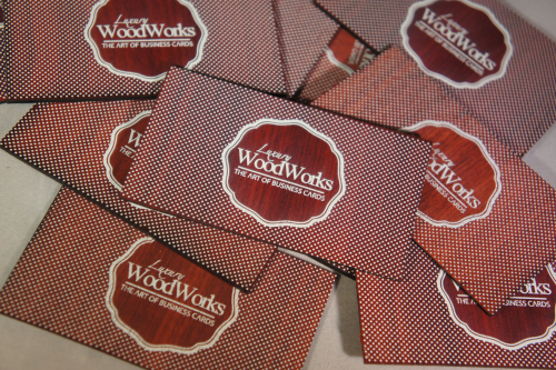 White Printed Wooden Business Cards'