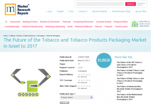 Tobacco Market in Products Packaging Israel to 2017'