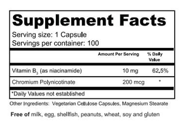 Chromium Polynicotinate Ingredients'