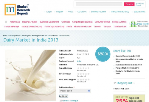 Dairy Market in India 2013, Reveals New Research Report'