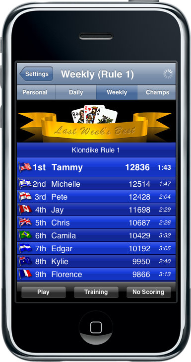 Solitaire City iPhone - Online Hi-Scores'