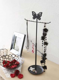 Black Metal Butterfly Tree Stand for Jewelry