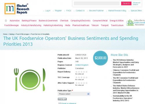 UK Foodservice Operators Business Sentiments Priorities 2013'