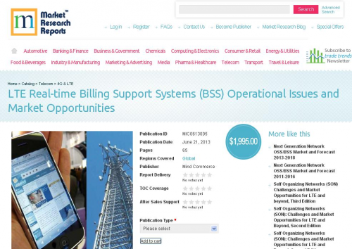 LTE Real-time Billing Support Systems Market Opportunities'