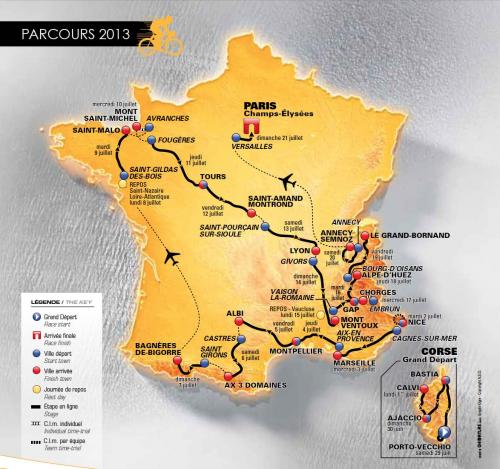 2013 Tour de France Race Course Map'