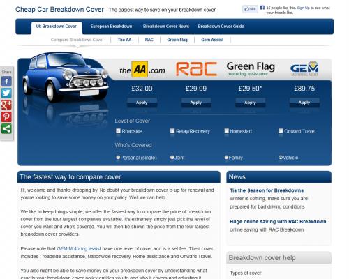 cheap car breakdown cover'