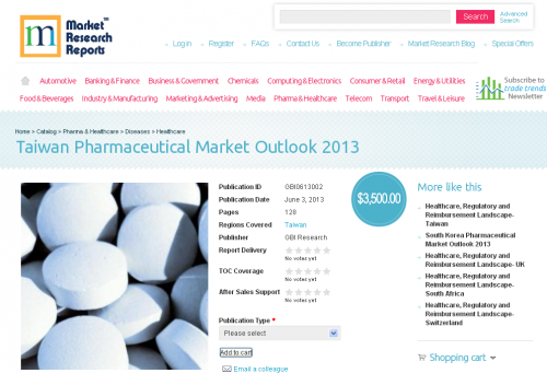 Taiwan Pharmaceutical Market Outlook 2013 Research Report'