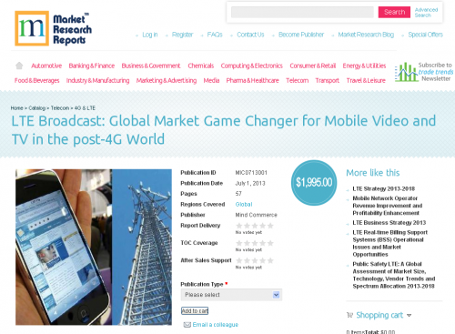 LTE Broadcast: Global Market Game Changer for Mobile Video a'