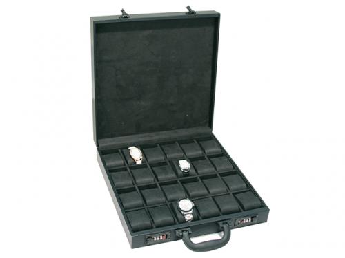 Black Leather Attache Travel Watch Case'