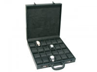 Black Leather Attache Travel Watch Case