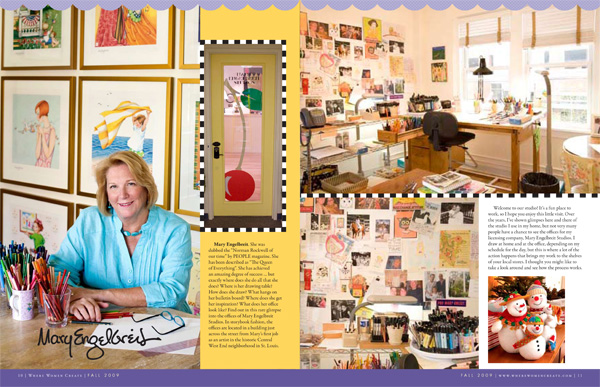 Opening spread of Mary Engelbreit's feature article in Where