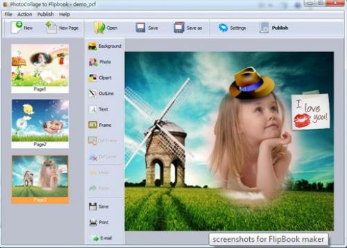 PhotoCollage to Flipbook'