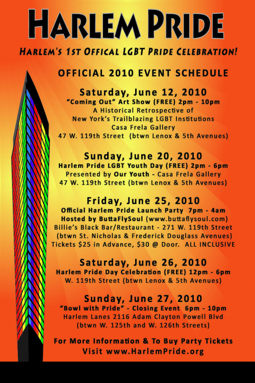Harlem Pride 2010 Official Event Schedule'