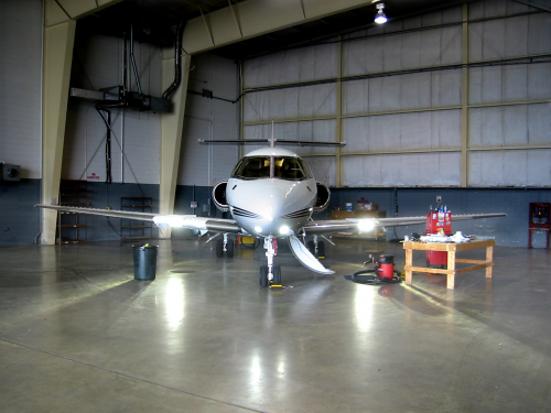 Hawker 800XP with light installed'