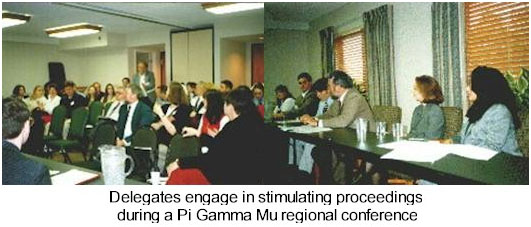 Delegates engage in stimulating proceedings during a Pi Gamm