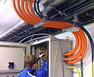 Man working on wires'