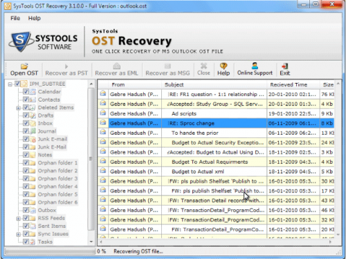 OST Recovery'