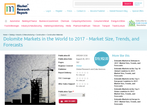 Dolomite Markets in the World to 2017 | Market Size | Trends'