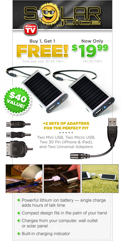 Solar Juice Mobile Charger As Seen on TV'