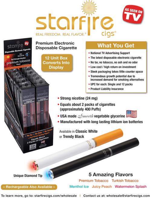 Starfire Cigs Premium Disposable Electronic Cigarettes'