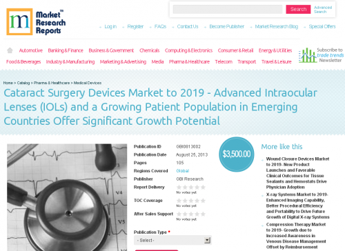 Cataract Surgery Devices Market to 2019'