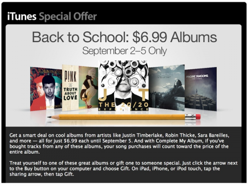 iTunes Back to School Special Offer'