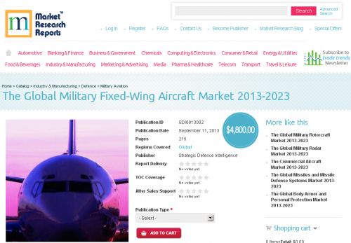 Global Military Fixed-Wing Aircraft Market 2013-2023'
