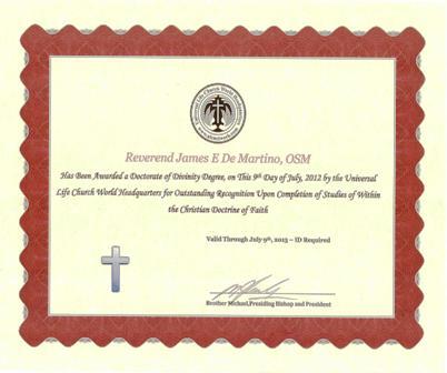 Universal Life Church Doctorate Degree'