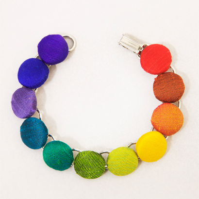 Rainbow Button Bracelet handmade from Dupioni silk scraps.