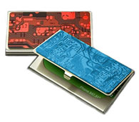 Business Card Cases made with unusable circuit board covers.