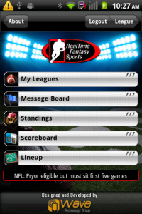 RealTime Fantasy Football Home Screen