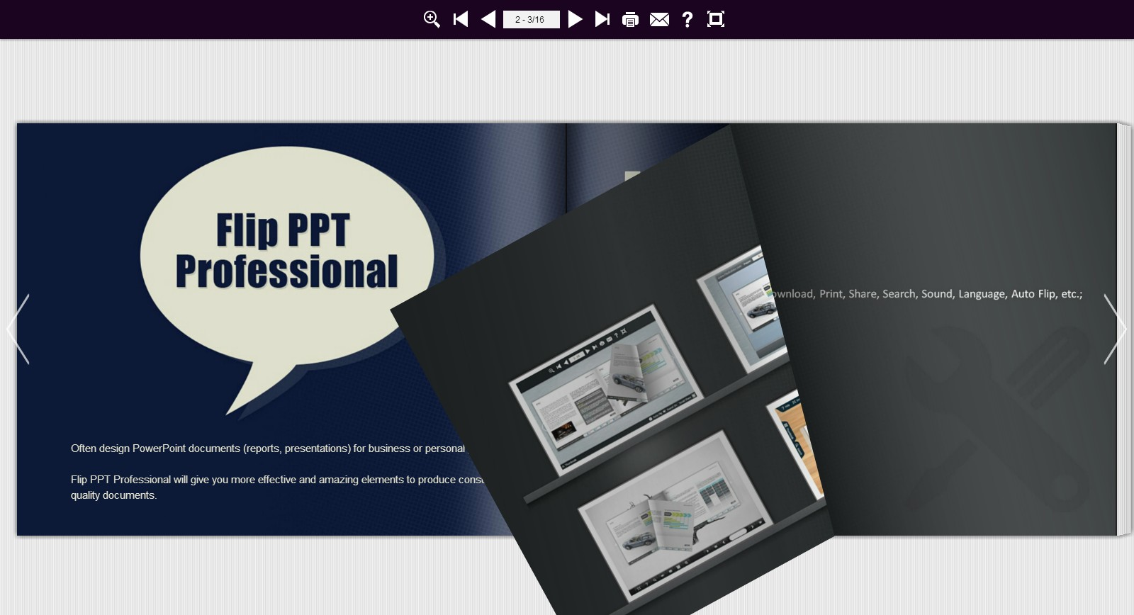 Flip PowerPoint Professional, make MS PPT to Page Flip Book