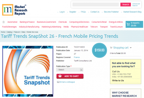 Tariff Trends SnapShot 26 - French Mobile Pricing Trends'