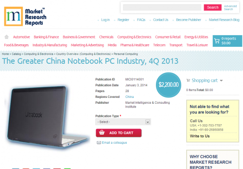 The Greater China Notebook PC Industry, 4Q 2013'