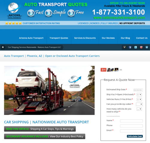 Auto Transport Quotes - Online 24/7'