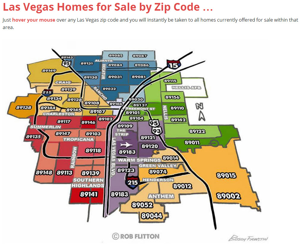 Las Vegas Homes for Sale by Zip Code Map