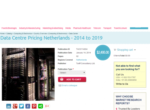 Data Centre Pricing Netherlands 2014 to 2019'
