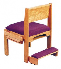 Solid Wood Stack Chair with Underseat Bookrack & Sid