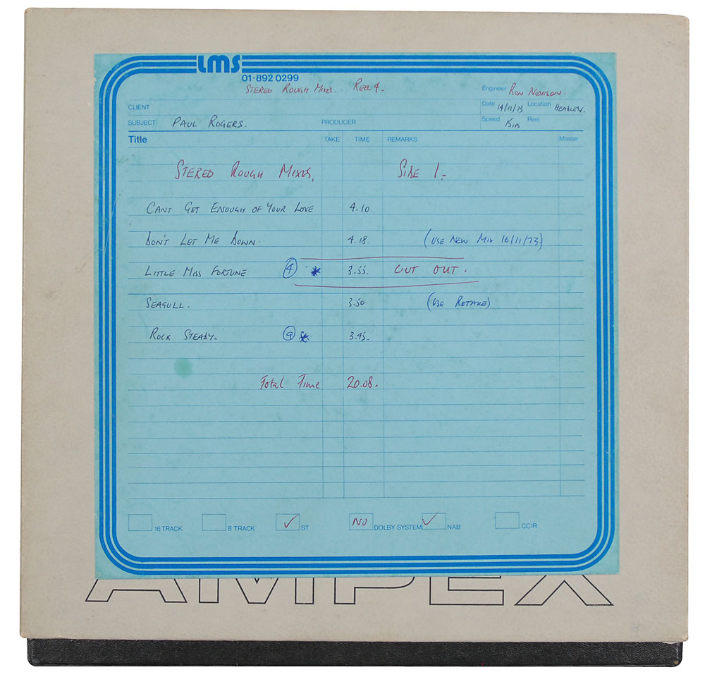 Vintage 10″ tape reel of tracks from Bad Company