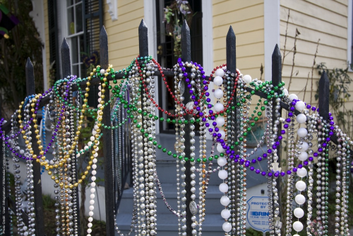 Mardi Gras beads on an iron gate in New Orleans. 2011.'