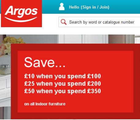 Argos £10 off £100 Voucher Code'