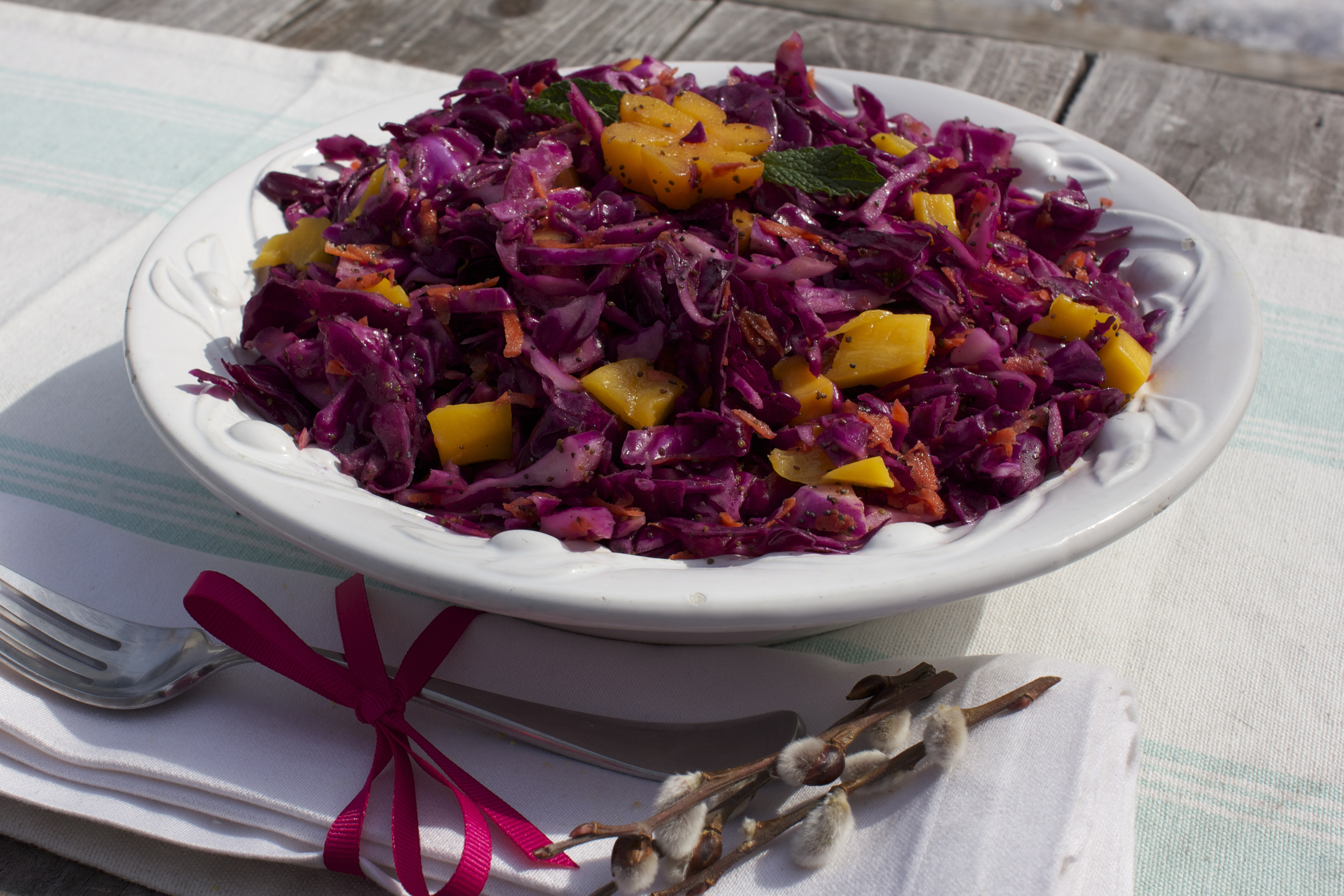 Mango & Raw Cabbage Slaw with Apple Cider Vinaigrett