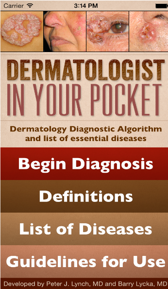 Dermatologist In Your Pocket iPhone App Screen'