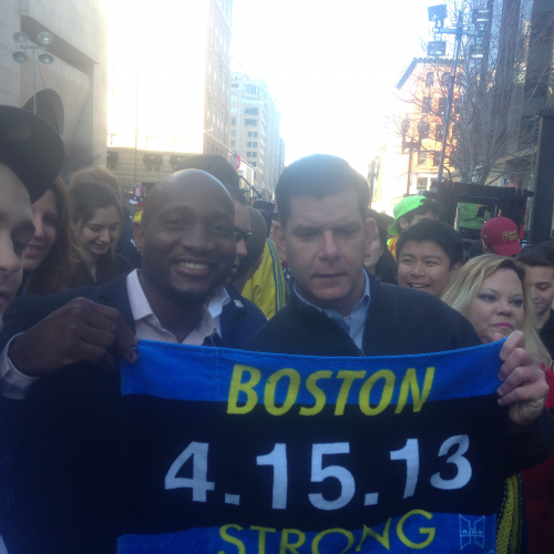Will Hilaire with Mayor of Boston, Martin Walsh'