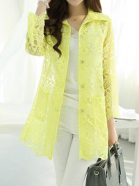 Long Yellow Lace Blouse