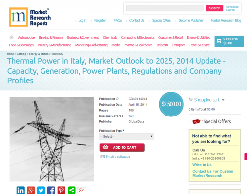 Thermal Power in Italy, Market Outlook to 2025, 2014 Update'