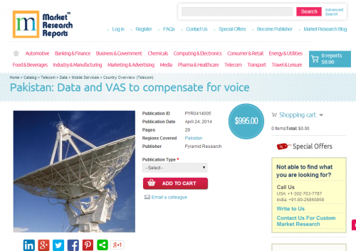 Pakistan - Data and VAS to compensate for voice'