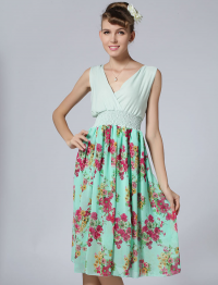 Green V Neck Sleeveless Floral Pleated Dress