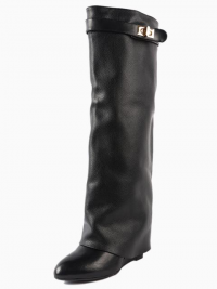 Black Leather Wedge Knee Boots